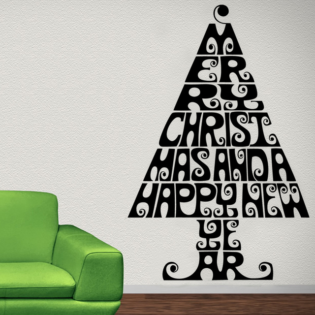 Merry Christmas And A Hy New Year Living Room Wall Decor Sticker Creative Home Letters
