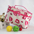 Aresland Lovely Lip Print Portable Cosmetic Bag Makeup Bag for Women Large Capacity Desk Organizer Travel Storage Christmas Gift