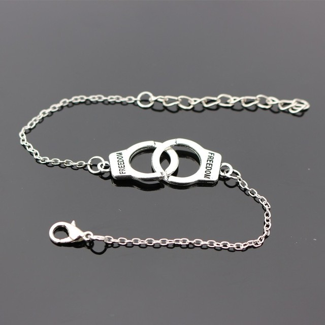 20pcs Valentine S Gift Handcuff Charm Bracelets Bangles Men Jewelry Pulseras Mujer Women Carved Freedom