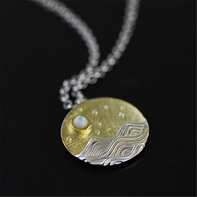 Top Quality Nice Natural Sight The Moonlight Necklace Pendant Special Design Jewelry for Women Genuine 925 Sterling Silver
