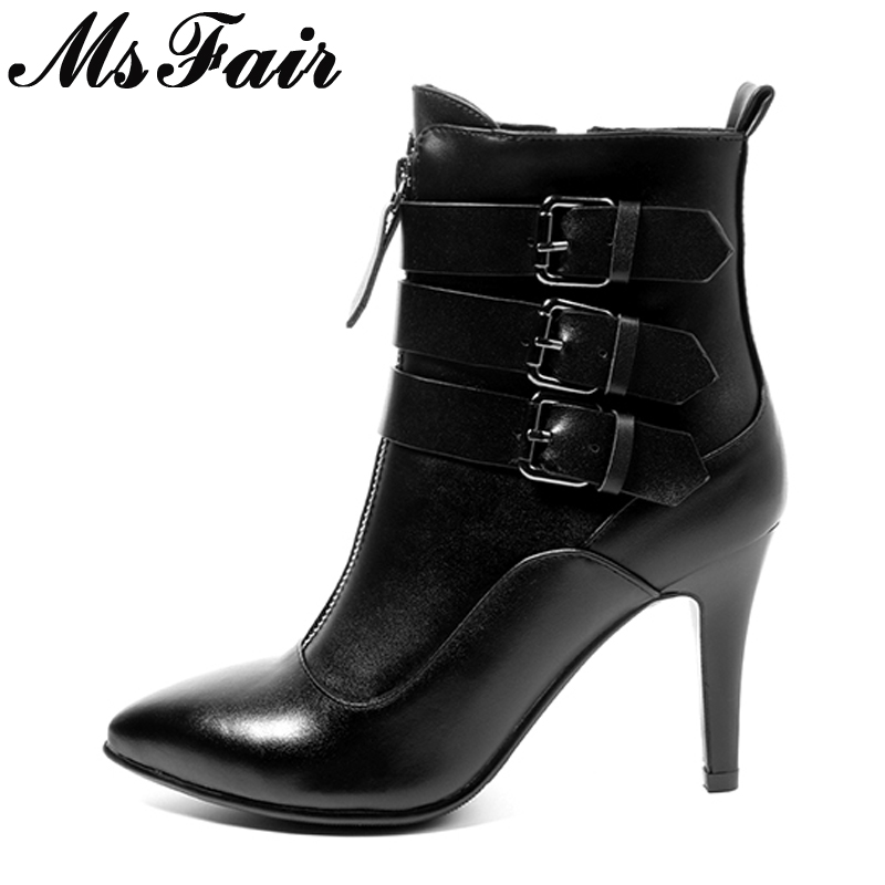 MsFair Pointed Toe Thin Heels Women Boots Ladies Super High Heel Ankle Boot 2017 New Winter Zipper Buckle Women's Boots Shoes women buckle ankle boots winter fur warm high heels boots for women fashion pointed toe chunky heel boot pu leather shoes