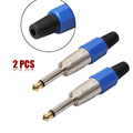 2 x Mono Sophomore Core Amplifier Microphone Plug 6.35mm Audio Jack Connector 6.35 amplifier microphone plug