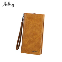 Aelicy New Arrive Fashion Retro Matte Stitching Wallet PU Leather Standard Wallets Women Casual Hasp Dollar