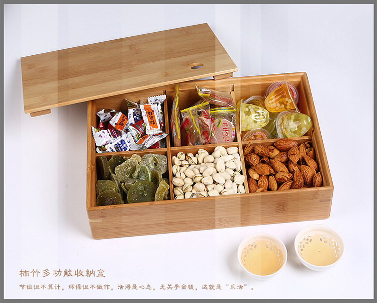 High End 6 In 1 Organizer Bamboo Wooden Storage Box Food