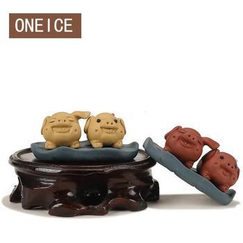 Yixing juego de té pareja de mascotas cerdo decoración arcilla tetera bandeja Aceessories