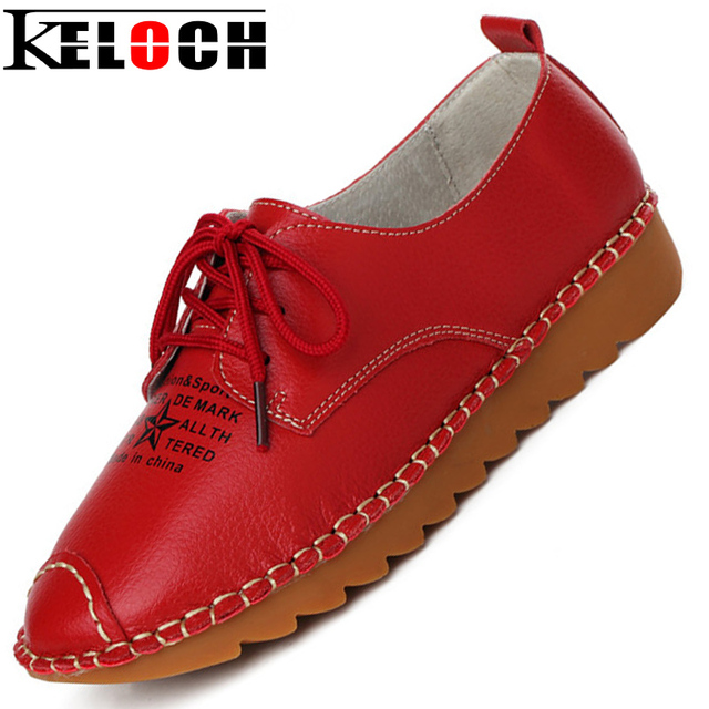 Keloch Women Shoes Leather Casual Moccasin Women Flats Pu Oxford Shoes For Women Formal Fashion Shoes Comfortable Zapatos Mujer