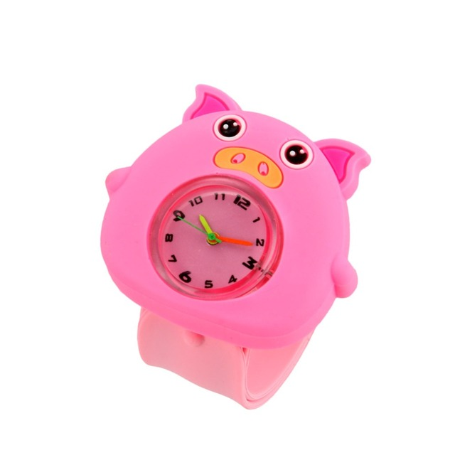 Digital Slap Watch Cute Pig Slap Watches for Kids Pink LXH