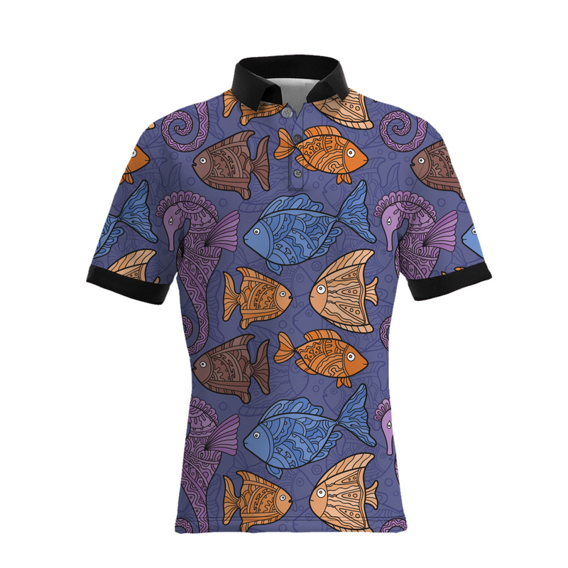 Men's 3D Print Summer New   Polo   Shirt Manga Style Colorful Ocean Fish Fashion Trend Print 12 Casual Anime game Short Sleeve Tops