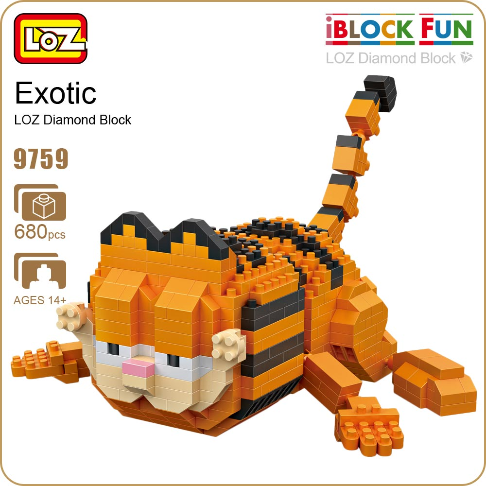 LOZ Blocks Diamond Exotic Cat Micro Building Blocks Figures Cartoon Mini Plastic Assembly Toys Small Blocks Cute Animal Toy 9759 lps pet shop toys rare black little cat blue eyes animal models patrulla canina action figures kids toys gift cat free shipping