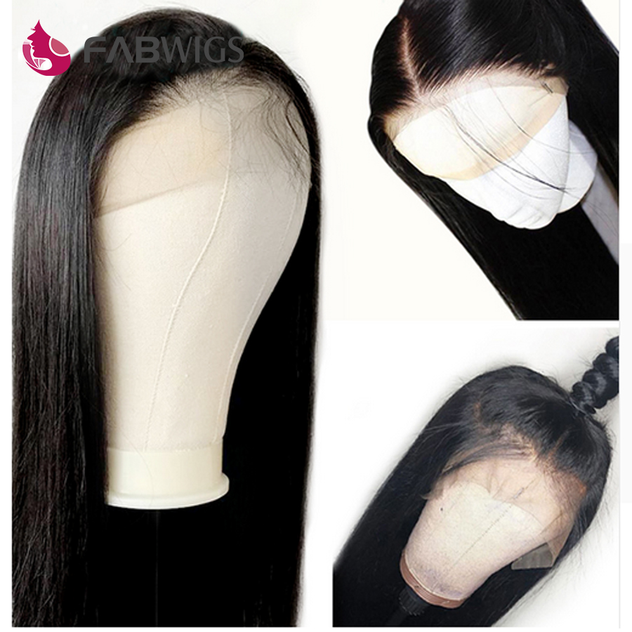 Fabwigs Peruvian Lace Front Human Hair Wigs With Baby Hair Straight Remy Hair Wigs For Black