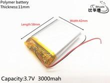 Free shipping 1pcs/lot 3 7V lithium polymer battery 114258 3000MAH Tablet PC navigation mobile power GIY