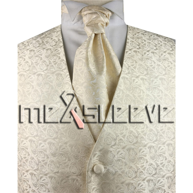 100% Kwaliteit Groothandel Gratis Verzending Single Borst Mannen Vest Ivoor Bloem Vest (vest + Bowtie + Zakdoek + Manchetknopen)
