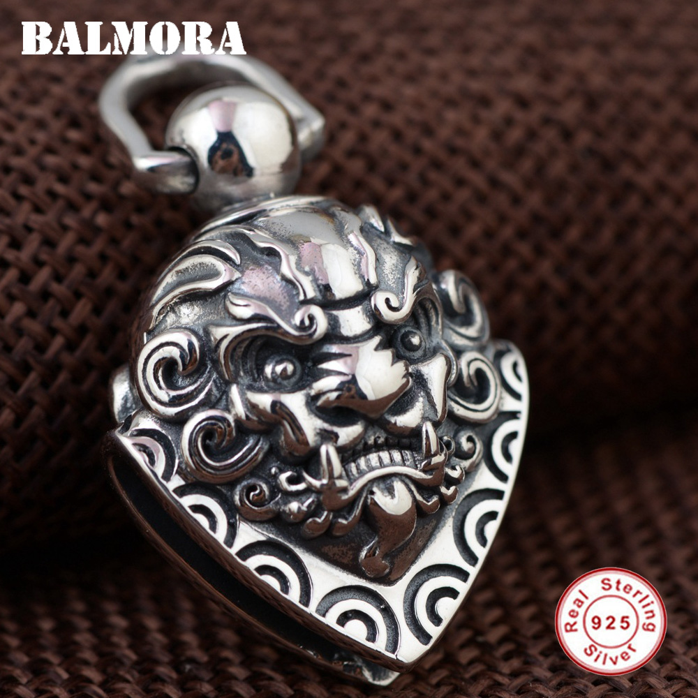 BALMORA 100% Real 925 Sterling Silver Hyperbole Pendants for Men Gift Vintage Jewelry Bell Accessories Without a Chain SY14058 bcosh a hyperbole and a half