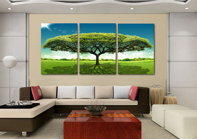 wall posters for living room painting wall sticker green big tree figure canvas 23469