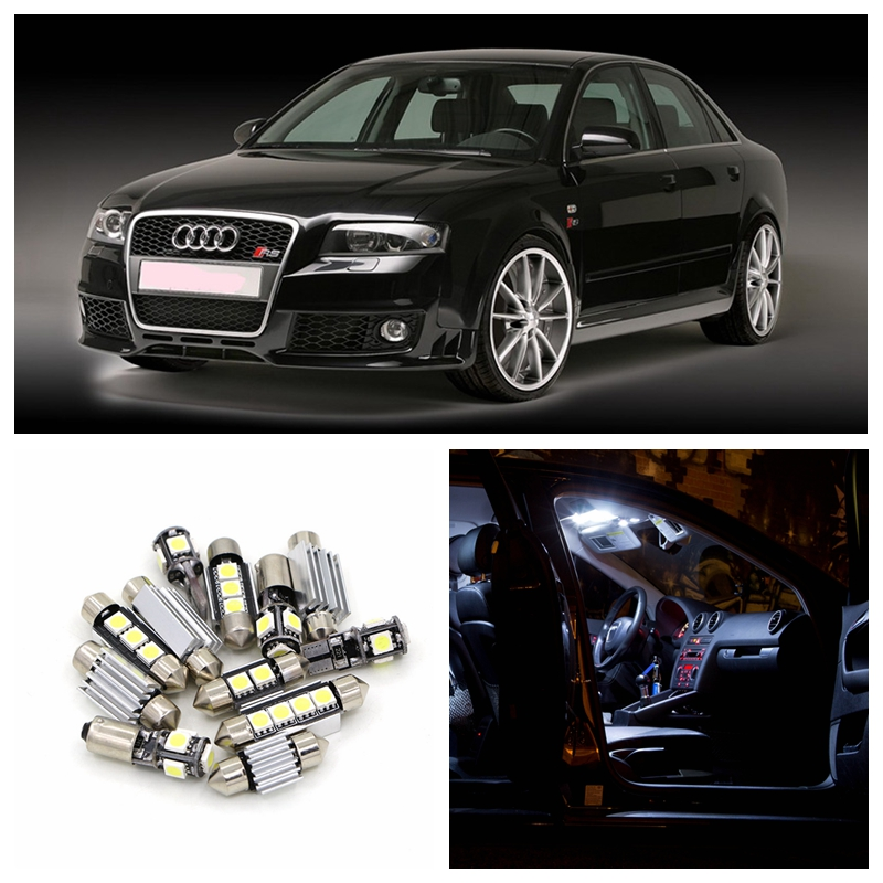 12pcs White Canbus Car LED Light Bulbs Interior Package Kit For 2001-2004 AUDI A4 B6 8E Map Dome License Plate Lamp Error Free free shipping 60 17x a4 s4 b5 1998 2001 white led lights interior package kit canbus