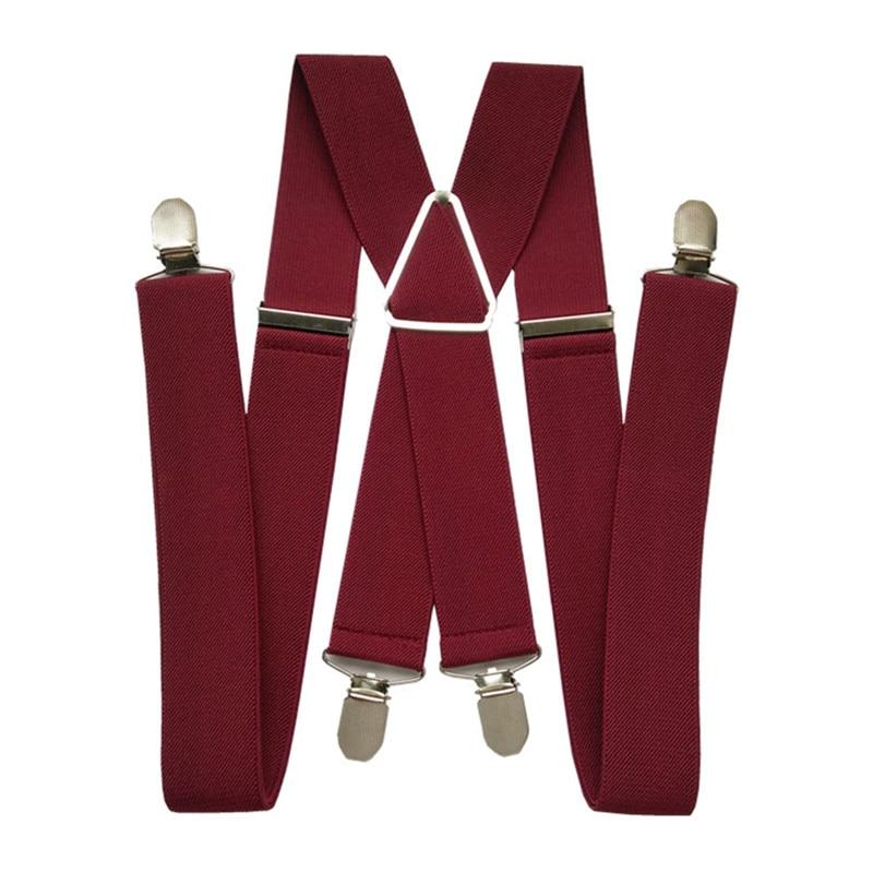 BD054-Plus Size Wine Red Men's Suspenders 3.5 Cm Width Adjustable Elastic X Back Suspender Clips On Pants Braces Women Adult