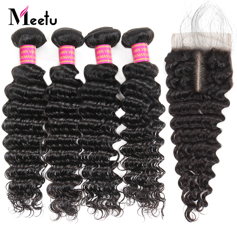 Meetu Brasiliani Deep Wave Bundles con chiusura 4PCS capelli umani - Forniture di bellezza