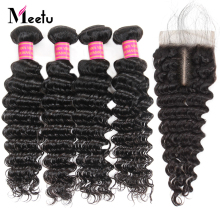 Meetu brasilianske Deep Wave Bundles Med Lukke 4PCS Menneskehår Med Lace Closure Brazilian Hair Bundles With Closure Non Remy