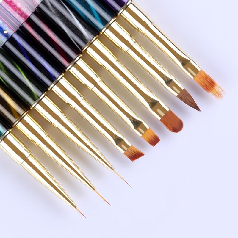 UV Gel Nail Art Liner Painting Gradient Brush Cat Eye Rhinestone Handle Manicure Line Drawing Pen Brush 1Pc