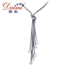 Daimi 9-10 MM Perla Barroca y Cuero Natural Collar Largo Colorido de La Joyería Collar de Perlas