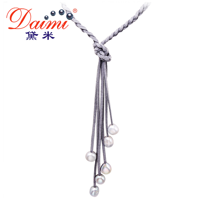 Daimi 9-10MM Natural Baroque Pearl & Leather Necklace Long Colorful Jewelry Pear