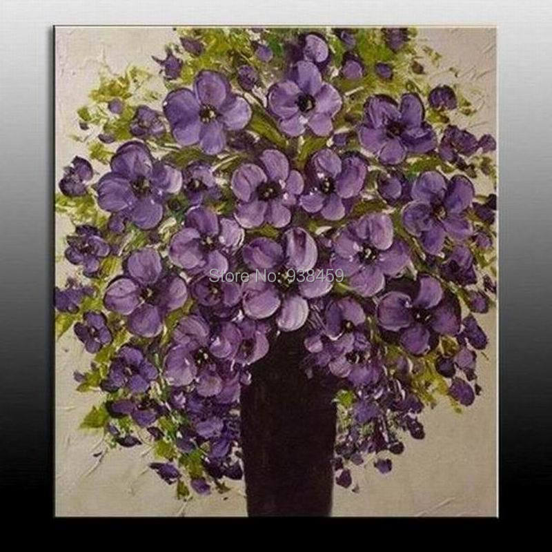 Purple Flower Oil Painting Abstract Wall Art Picture: Handmade Modern Abstract Oil Painting Purple Flower