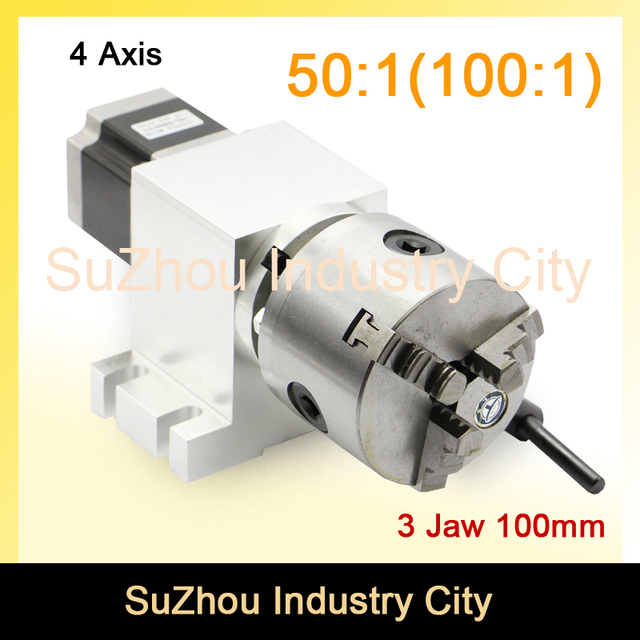 3 Jaw 100mm CNC 4th Axis CNC dividing head/Rotation Axis/A axis kit Nema23 Gapless harmonic gearbox for CNC woodworking machine