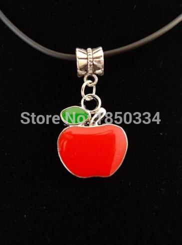 HOT Wholesale 10PCS  Fashion  Antique Silver Enamel  Apple Charms  Statement Necklace & Pendants Jewelry  For Woman B88