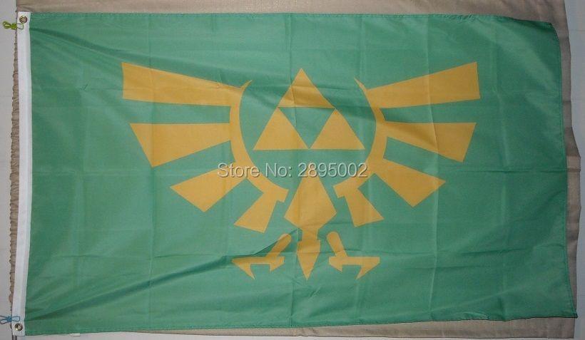 Legend of Zelda Triforce Green Flag Polyester grommets 3 x 5 Banner metal holes Flag-free shipping