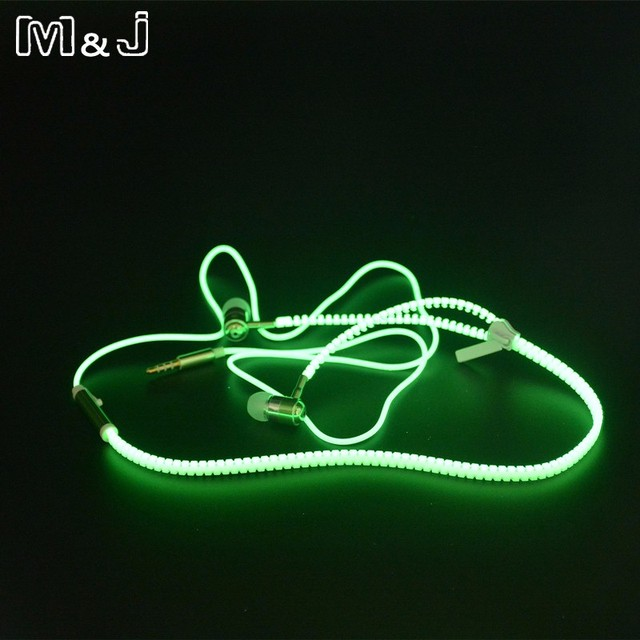 M&J High Quality Full Glowing Earphone Luminous Light Metal Zipper Ear Phones Glow In The Dark For Iphone Samsung MP3 With Mic