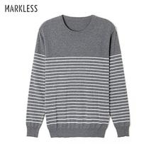 Markless O-neck Sweater Men 100% Cotton Winter Warm Stripe Sweaters Pullover Men Christmas pull homme sueter hombre MSA3710M