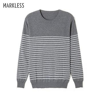 Markless O-neck Sweater Men 100% Cotton Winter Warm Stripe Sweaters Pullover Men Christmas pull homme sueter hombre MSA3710M markless o neck sweater men 100% cotton winter warm stripe sweaters pullover men christmas pull homme sueter hombre msa3710m