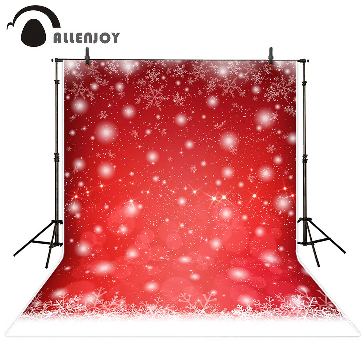 Allenjoy photography backdrop Christmas red bokeh snowflake children background photocall customize original design photobooth