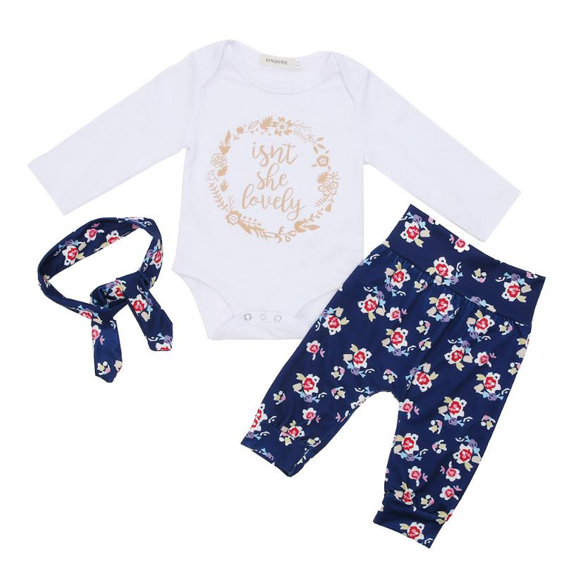 Baby Girl Clothes Autumn Baby Clothing Sets Letter Printing Romper+Casual Pants 2pcs for Baby Clothes High Quality