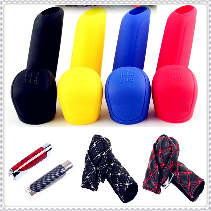 Car Rubber Gear Shift Knob Handbrake Cover Hand Brake Stall Case For Peugeot 206 307 406 407 207 208 308 508 2008 3008 4008