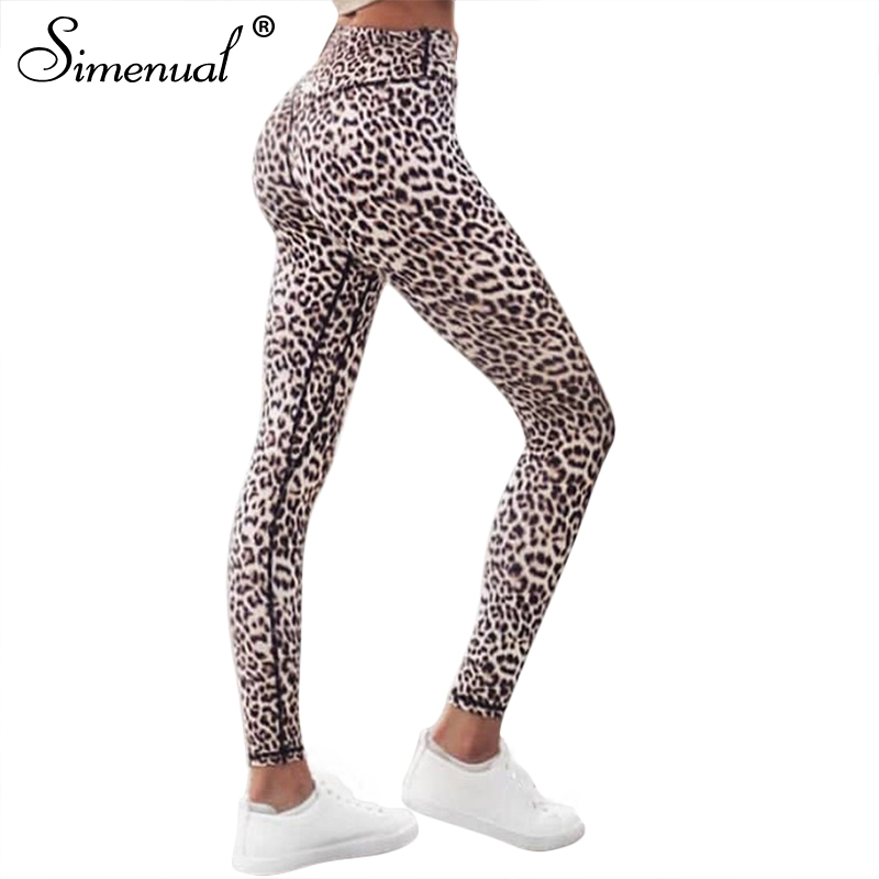 Simenual Harajuku high waist leopard leggings women sportswear fitness clothing 2018 athleisure sexy legging <font><b>activewear</b></font> pants
