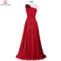 2016 New One Shoulder Chiffon Red Formal Evening Dresses For Women Ruched Evening Gowns Wedding Party