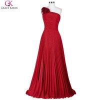 Grace karin 2017 חדש כתף אחת ערב שיפון אדום פורמליות שמלות ארוכות חתונה ארוחת ערב אמא של שמלת הכלה