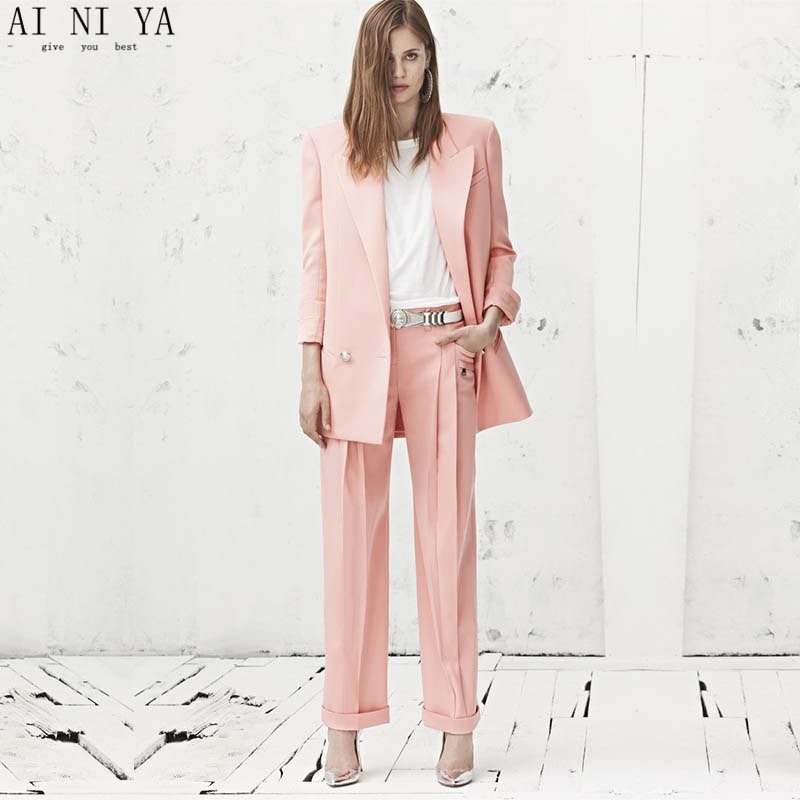 CUSTOM pink 2 piece set women business suit formal office suits work wedding tuxedo blazer female trouser elegant pant suit 2 tuxedo