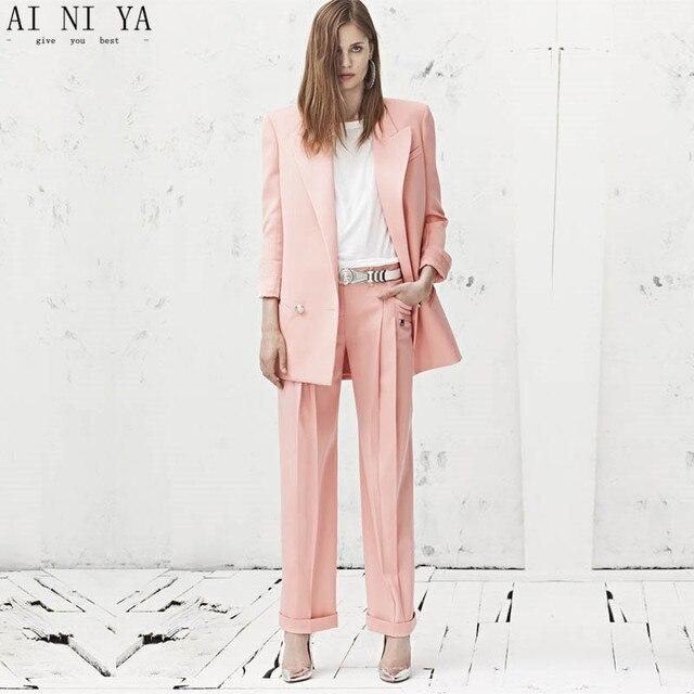 CUSTOM pink 2 piece set women business suit formal office suits work wedding  tuxedo blazer female trouser elegant pant suit c5b90183fbbd
