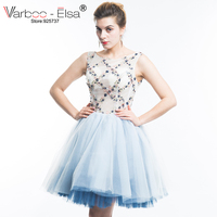 VARBOO_ELSA New 2018 Short A Line Halter Backless Tulle Crystal Beading Formal Prom Gown Sweet Cocktail Dresses Women