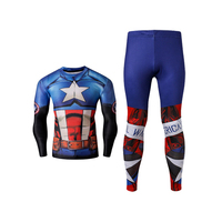 Captain Marvel Jersey Men's Shirts Long Sleeve Mma Rashguard Compression Sport Fitness Suit Men Muay Thai Kickboxing Ufc Bjj T S
