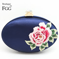 Women Blue Embroidery Rose Floral Evening Party Clutch Bags Hard Metal Clutches Bridal Wedding Shoulder Handbags and Purses