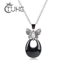 4f0842ae1ea6 Azul Rosa negro blanco gota de agua mujeres collar de cristal grande CZ mariposa  collar de moda exquisita cerámica colgante coll.