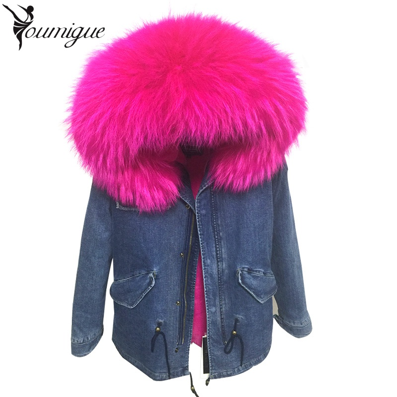 2017 New Winter Jacket Women Coat Large Real Raccoon Fur Collar Hooded Coats Detachable Faux Fur Lined Denim Parka Warm Outwear 2017 autumn winter jacket coat women holes denim long jacket real large raccoon fur collar and faux fur thick warm liner