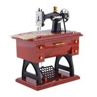 1Pc Mini Vintage Lockwork Sewing Machine Music Box Kid Toy Treadle Sartorius Toys Retro Birthday Gift