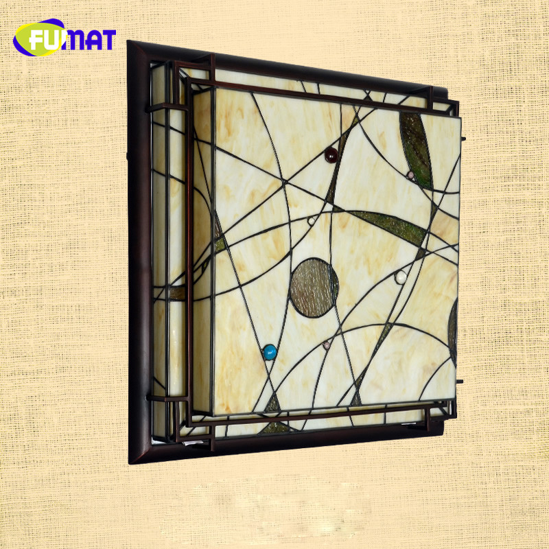 FUMAT Art Deco Ceiling Lamp Stained Glass Classic LED Lightings Living Room Bar Lightings Project Light Bed Room Ceiling Lights fumat stained glass pendant lamps european style glass lamp for living room dining room baroque glass art pendant lights led