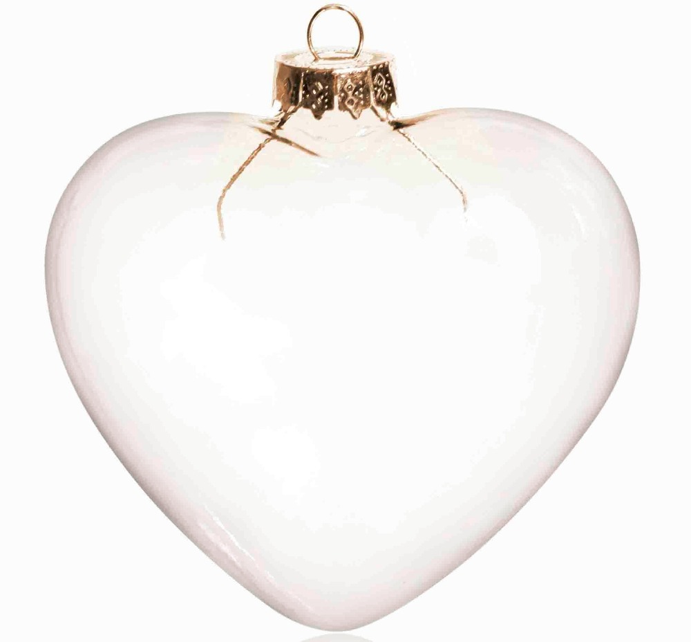Glass heart christmas ornaments - Promotion Diy Paintable Transparent Christmas Decoration 90mm Heart Glass Ornament With Gold Top