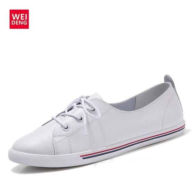 WeiDeng mujeres del cuero genuino pisos blanco suela blanda en juguete cordón del estilo de muy buen gusto Vulanizeed plana Embosses zapatos