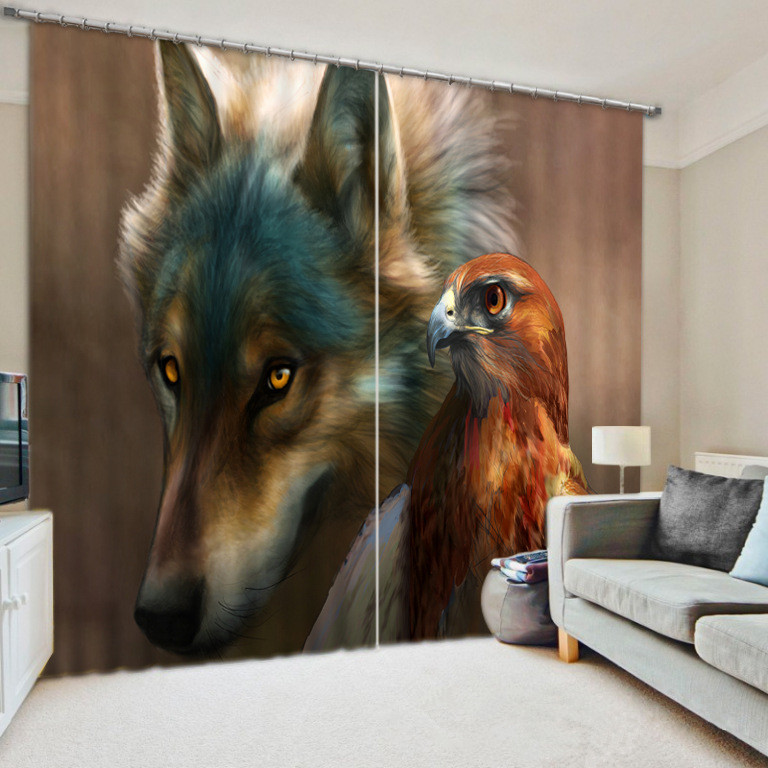 3D Wolf and Eagle Window Curtain for Living Room3D Wolf and Eagle Window Curtain for Living Room
